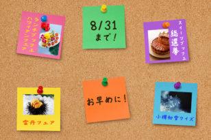 お急ぎください★各種フェア&イベントは8月末まで!