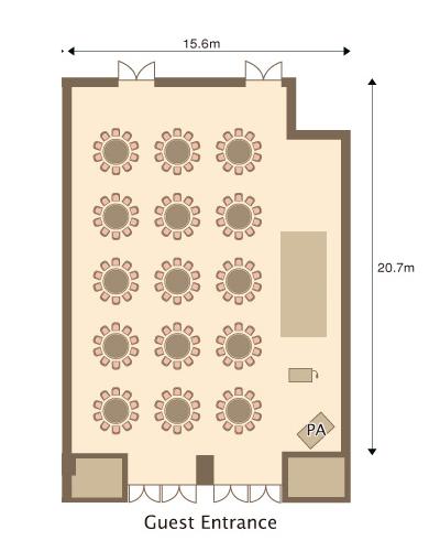 正餐(円卓12卓:120名)・スクール形式(40名)