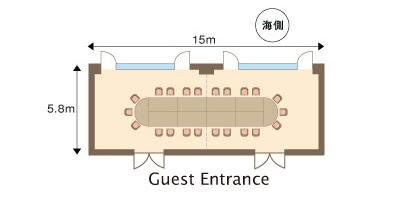 正餐(オーバル形式:10名 × 5)